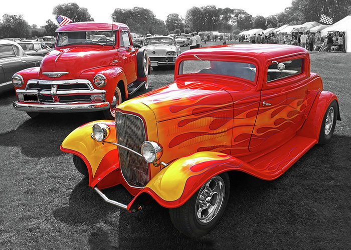 Car Show Fever 54 Chevy With A 32 Ford Coupe Hot Rod Greeting Card