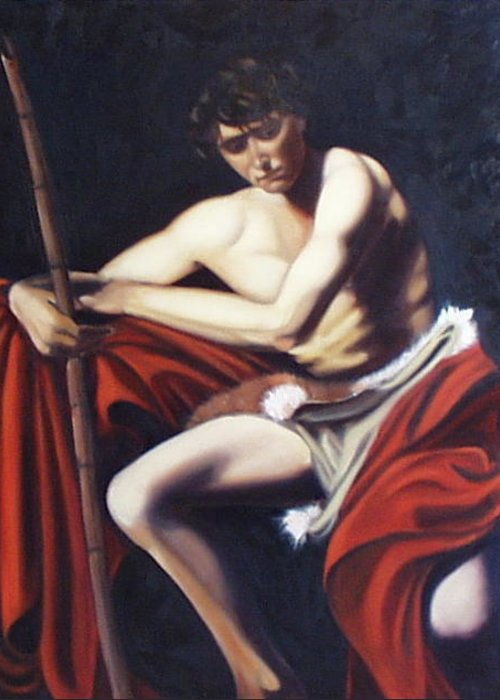 Caravaggio Greeting Card featuring the painting Caravaggio's John the Baptist study by Toni Berry