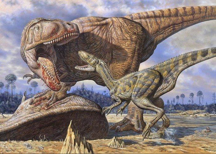 Carcharodontosaurus Greeting Card featuring the photograph Carcharodontosaurus Guards Its Kill by Mark Hallett