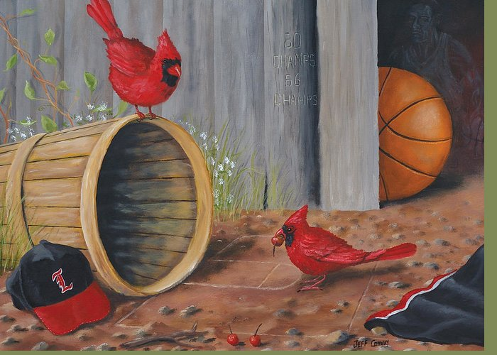 Cardinals Greeting Card featuring the painting Card Practice by Jeff Conway