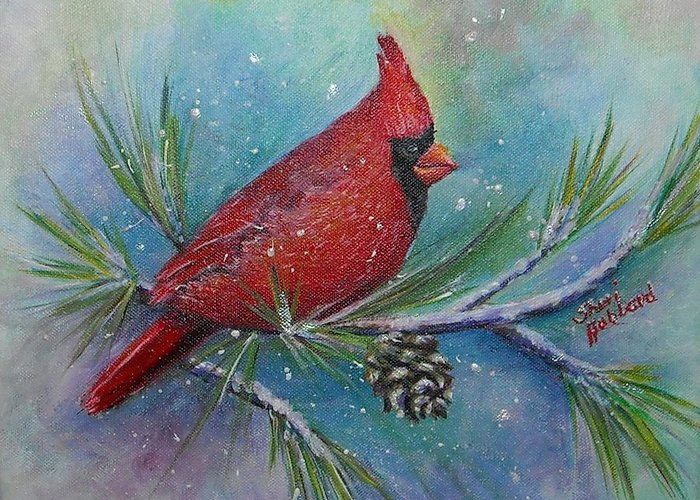 Red Greeting Card featuring the painting Cardinal And Delta Snow by Sheri Hubbard