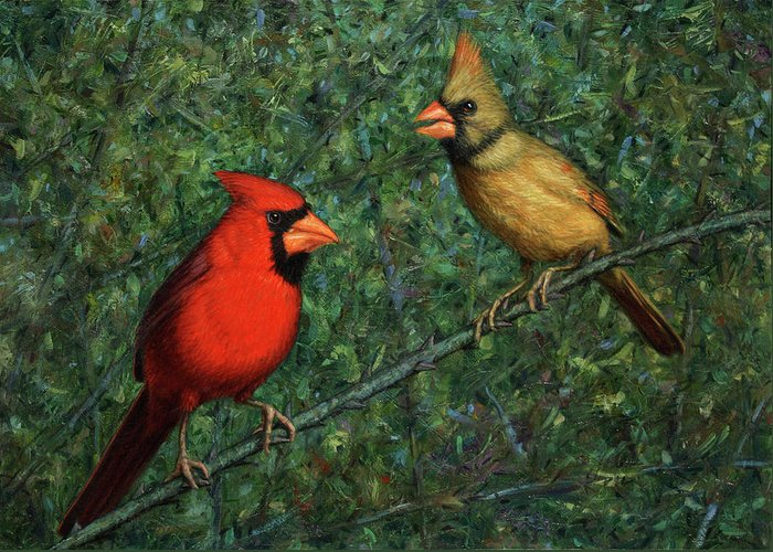Cardinal Greeting Card featuring the painting Cardinal Couple by James W Johnson