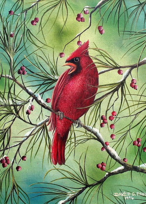Cardinal Greeting Card featuring the painting Cardinal by David G Paul