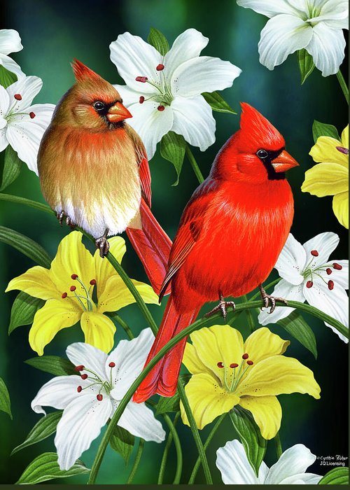 Cardinal Greeting Card featuring the painting Cardinal Day 2 by JQ Licensing