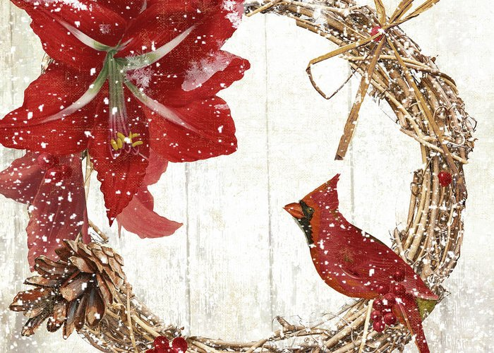 Cardinal Greeting Card featuring the painting Cardinal Holiday II by Mindy Sommers