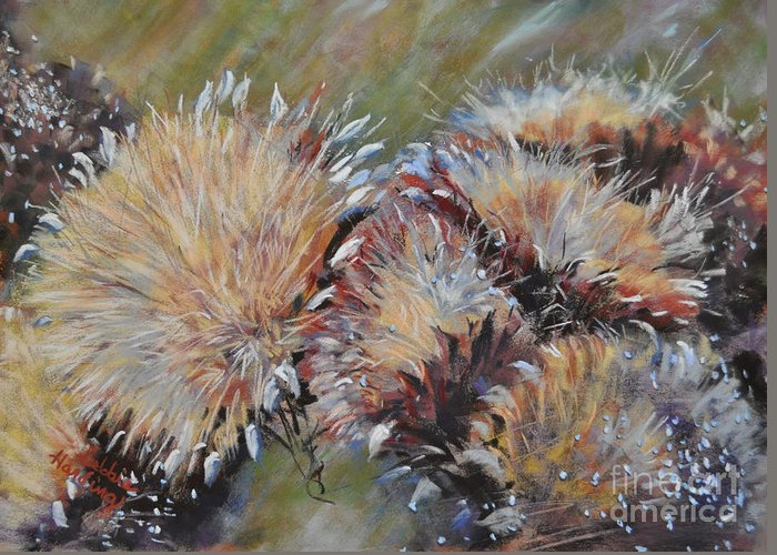 Flower Greeting Card featuring the painting Cardoon by Debbie Harding