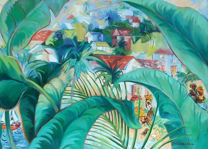 Caribbean Figures Greeting Card featuring the painting Caribbean Fantasy by Dianna Willman
