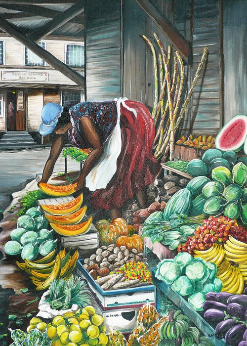 Caribbean Painting Market Vendor Painting Caribbean Market Painting Fruit Painting Vegetable Painting Woman Painting Tropical Painting City Scape Trinidad And Tobago Painting Typical Roadside Market Vendor In Trinidad Greeting Card featuring the painting Caribbean Market Day by Karin Dawn Kelshall- Best