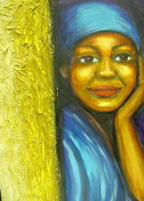 Greeting Card featuring the painting Caribbean Mystery Lady by Jan Gilmore