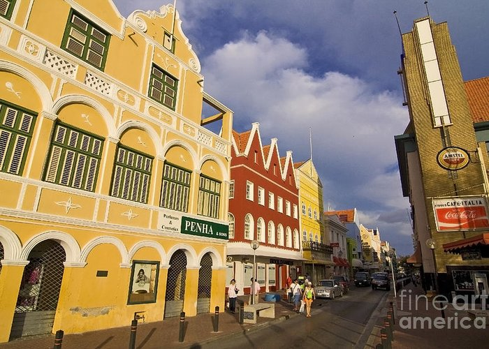 Curacao Greeting Card featuring the photograph Caribbean Shopping District by Sven Brogren