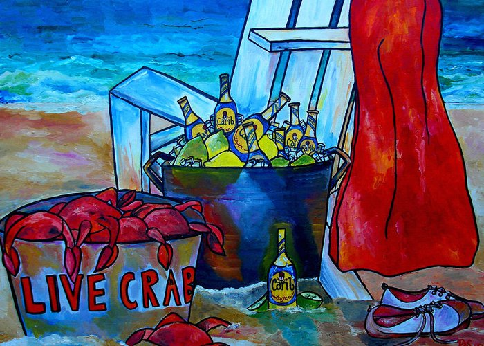 Caribe Beer Greeting Card featuring the painting Caribe And Crab by Patti Schermerhorn