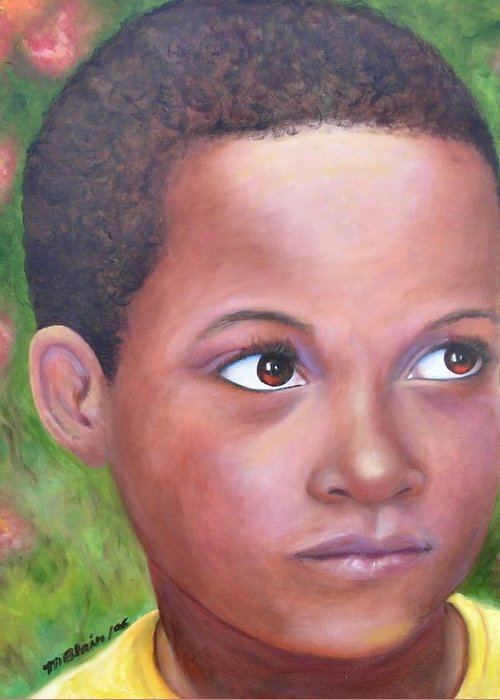 Children Greeting Card featuring the painting Caribe Child by Merle Blair