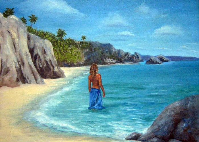 Landscape Greeting Card featuring the painting Caribean Dreaming by Anne Kushnick