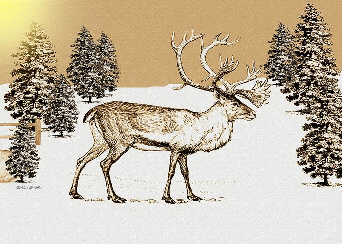 Smudgeart Greeting Card featuring the digital art Caribou by Madeline Allen - SmudgeArt