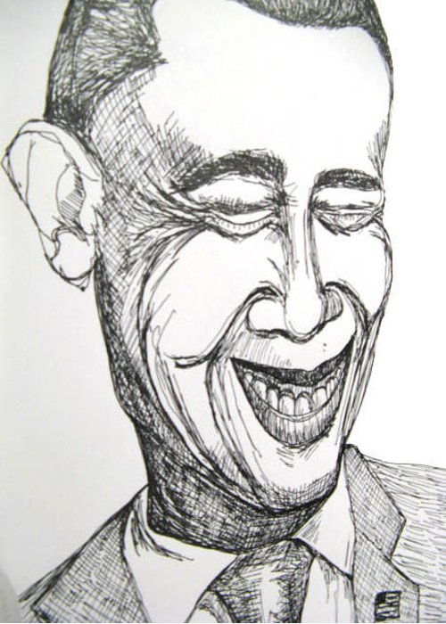 Portrait Of Celebrity Greeting Card featuring the drawing Caricuture of Barack Obama by Caroline Lifshey