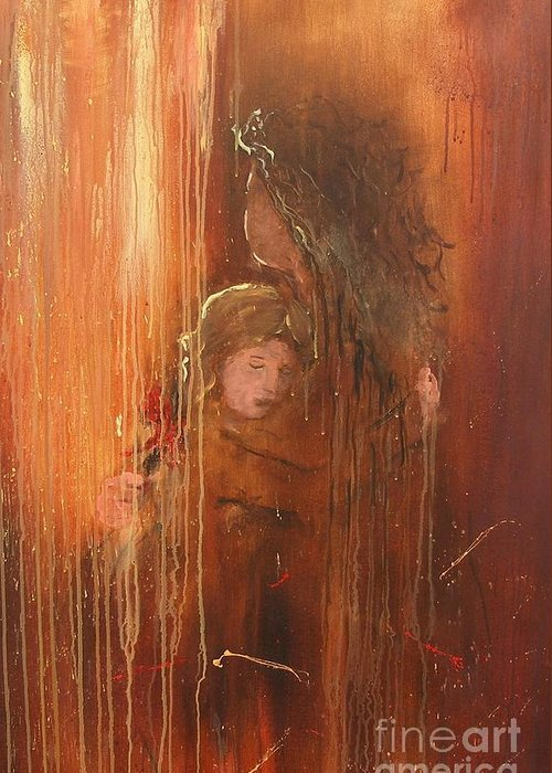 Caring Take Care Mother And Daughter Mom Baby Abstract Painting I Love You Rain Hug Little Girl Lovely Greeting Card featuring the painting Caring by Miroslaw Chelchowski