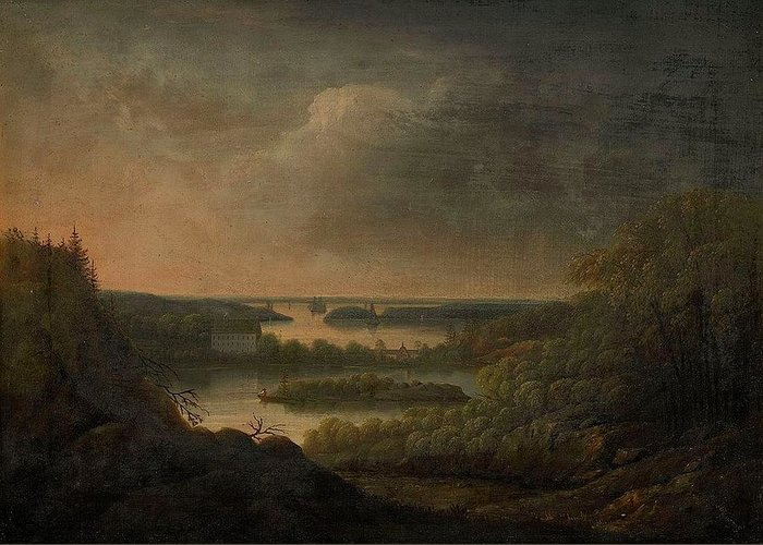 Carl Johan Fahlcrantz (1779-1861)-'view Of Velamsunds Mansion' Greeting Card featuring the digital art Carl Johan Fahlcrantz by Mark Carlson