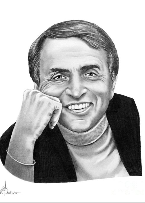 Pencil Greeting Card featuring the drawing Carl Sagan by Murphy Elliott