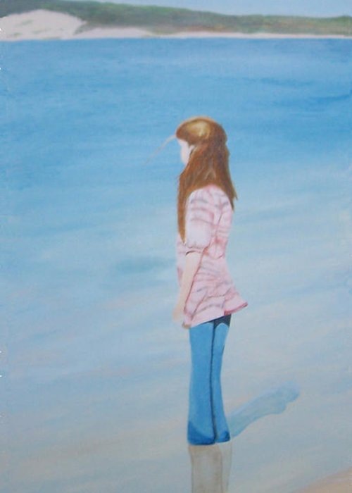 Ocean Greeting Card featuring the painting Carlee By The Sea by Tammy Dunn