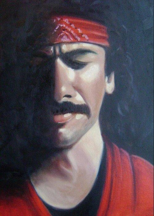 Santana Greeting Card featuring the painting Carlos Santana by Toni Berry