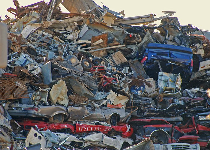 Metal Greeting Card featuring the photograph Carmageddon by Steavon Horne