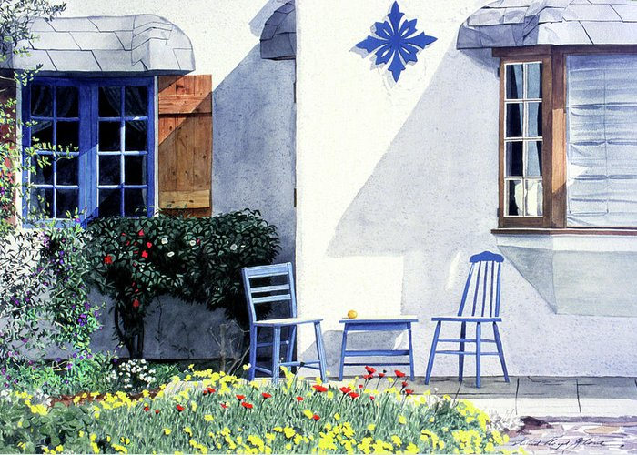 Watercolor Greeting Card featuring the painting Carmel Cottage With Orange by David Lloyd Glover