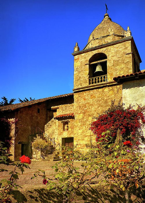 Carmel Mission Greeting Card featuring the photograph Carmel Mission by Priscilla Burgers
