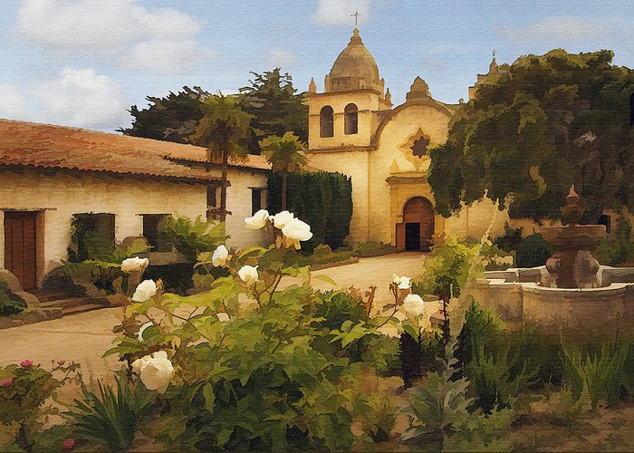 Architecture Greeting Card featuring the photograph Carmel Mission by Sharon Foster