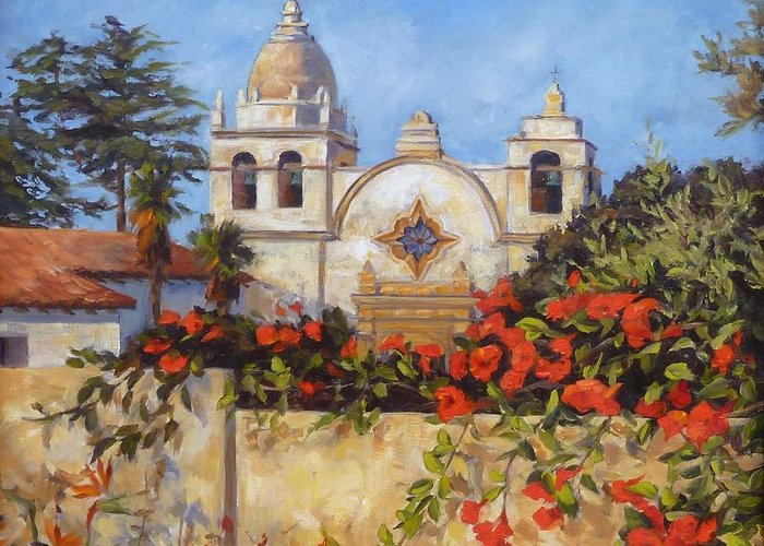Carmel By The Sea Greeting Card featuring the painting Carmel Mission by Shelley Cost