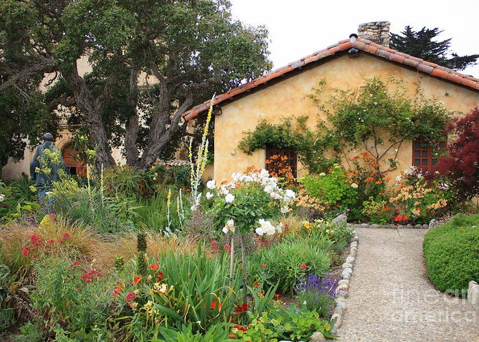 Carmel Greeting Card featuring the photograph Carmel Mission With Path by Carol Groenen