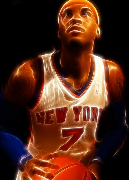 Lee Dos Santos Greeting Card featuring the photograph Carmelo Anthony - New York Nicks - Basketball - Mello by Lee Dos Santos