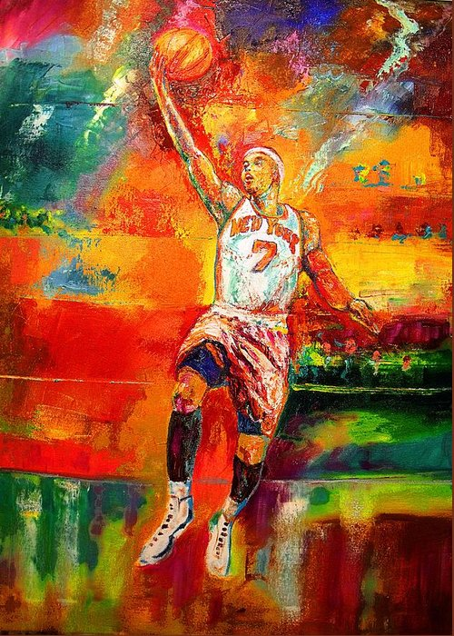 Carmel Anthony Basketball New York Knicks Greeting Card featuring the painting Carmelo Anthony New York Knicks by Leland Castro
