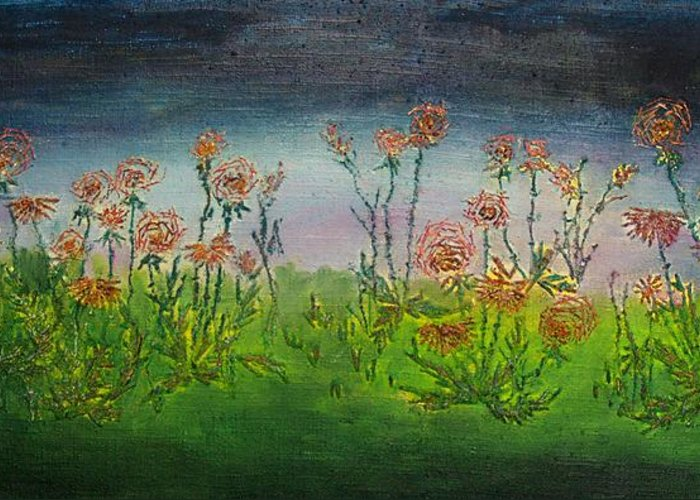 Flowers Greeting Card featuring the drawing Carnations At Dusk by Jacob Stempky