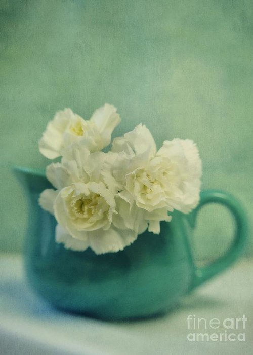 Carnation Greeting Card featuring the photograph Carnations In A Jar by Priska Wettstein