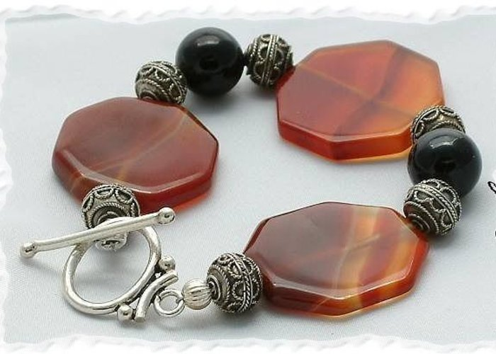 Bali Greeting Card featuring the jewelry Carnelian and Onyx Bracelet by Donna Phitides