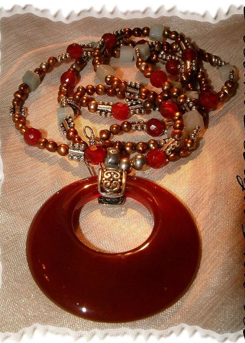 Carnelian Greeting Card featuring the jewelry Carnelian Pendant Necklace by Donna Phitides