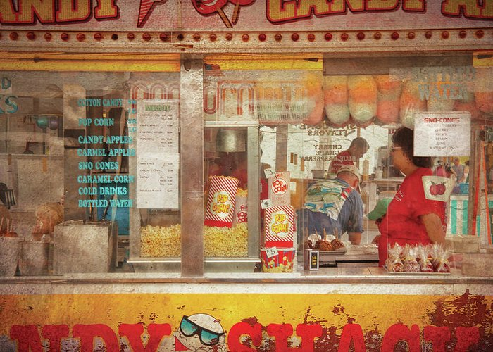 Savad Greeting Card featuring the photograph Carnival - The Candy Shack by Mike Savad
