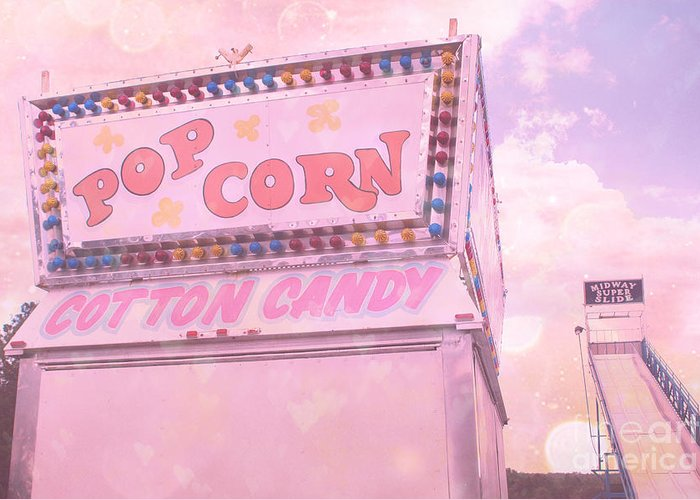 Carnival Art Photography Greeting Card featuring the photograph Carnival Festival Popcorn Cotton Candy Slide Fun by Kathy Fornal