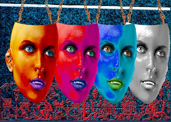 Masks Greeting Card featuring the digital art Carnival Masks by Peter Jenkins