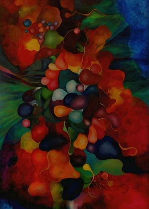 Abstract Greeting Card featuring the painting Carnival by Peggy Guichu