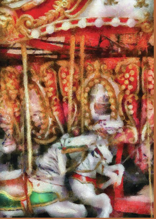 Savad Greeting Card featuring the photograph Carnival - The Carousel - Painted by Mike Savad