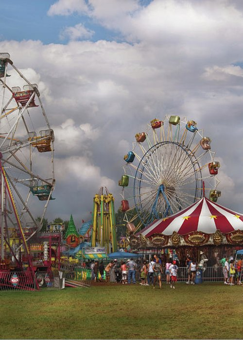 Savad Greeting Card featuring the photograph Carnival - Traveling Carnival by Mike Savad