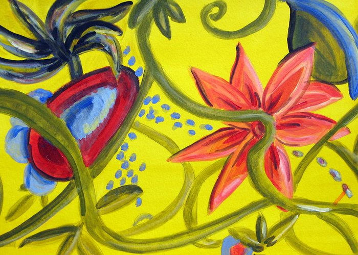 Floral Greeting Card featuring the painting Carnival Two by Rebecca Merola