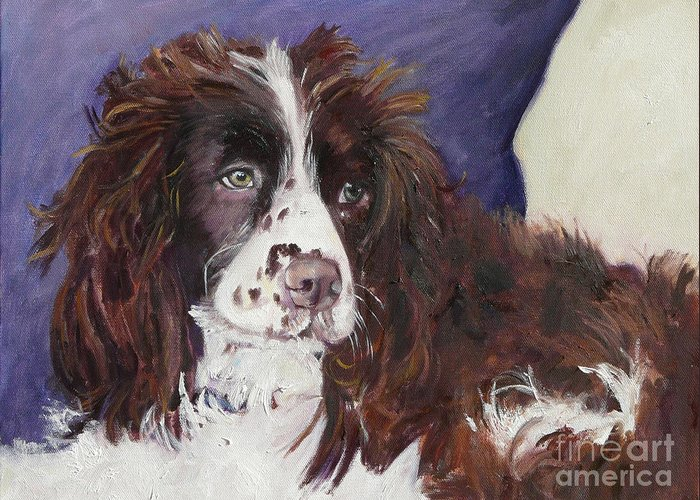 Pet Portrait Greeting Card featuring the painting Carolina Moon by Gloria Smith