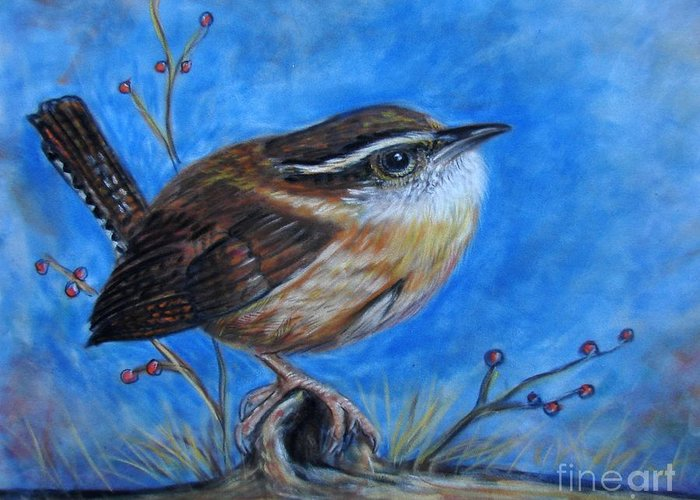 Birds Greeting Card featuring the painting Carolina Wren by Patricia L Davidson