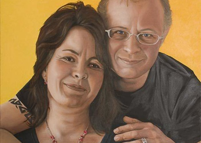 Portrait Greeting Card featuring the painting Caroline And Rob by Rob De Vries