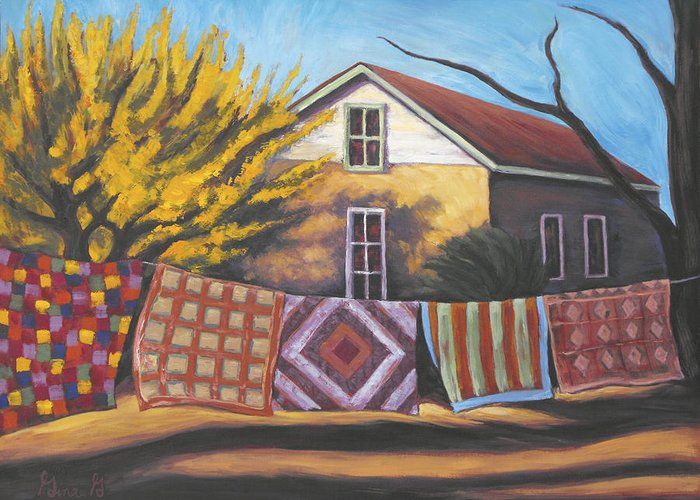 Quilts Greeting Card featuring the painting Carolines Quilts by Gina Grundemann