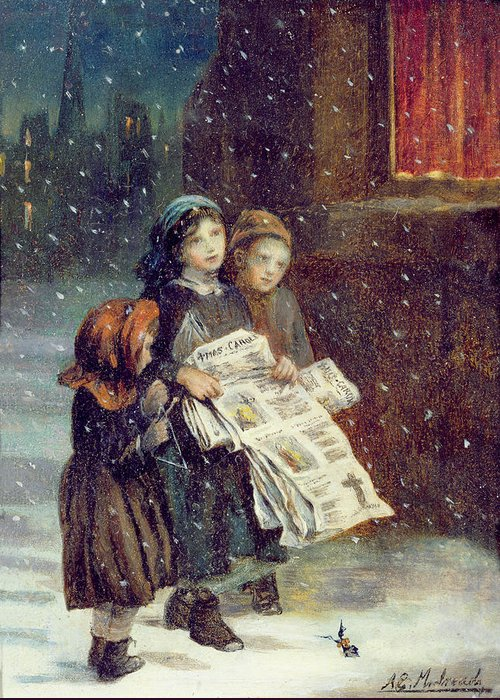 Carols Greeting Card featuring the painting Carols For Sale by Augustus Edward Mulready