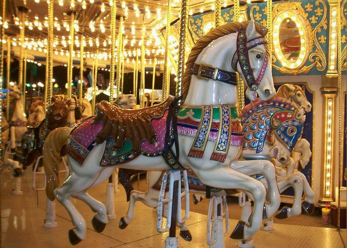 Carosel Horse Greeting Card featuring the photograph Carosel Horse by Anita Burgermeister