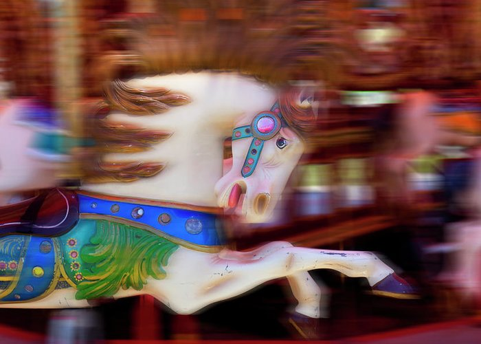 Carousel Greeting Card featuring the photograph Carousel Horse In Motion by Garry Gay